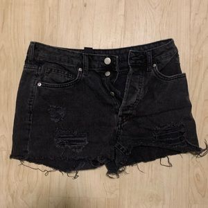 Black Distressed Black Denim Shorts